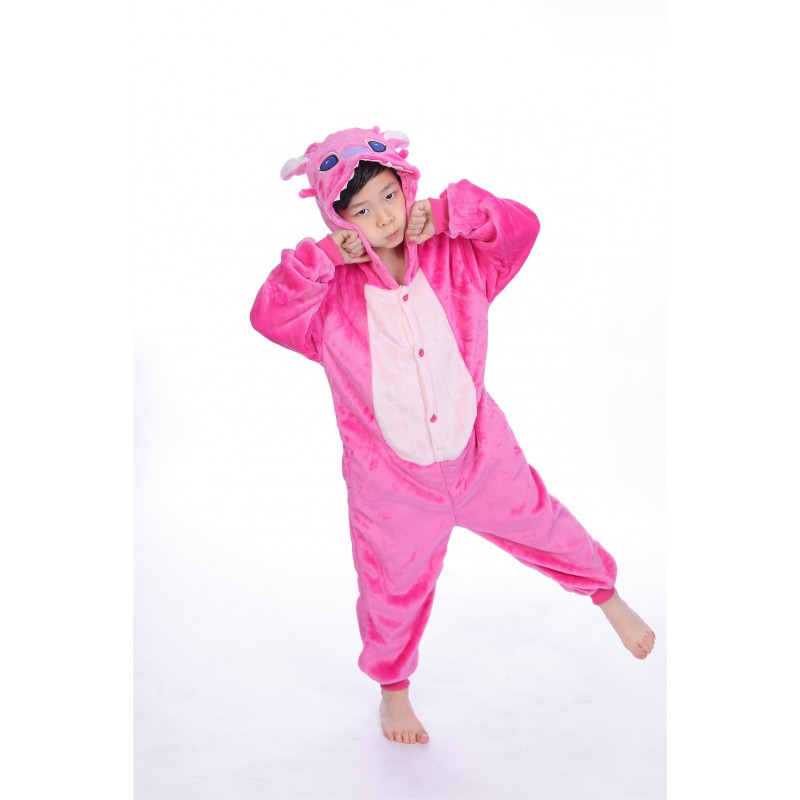 129ab8d9b0 animal kigurumi pink Stitch onesie pajamas for kids