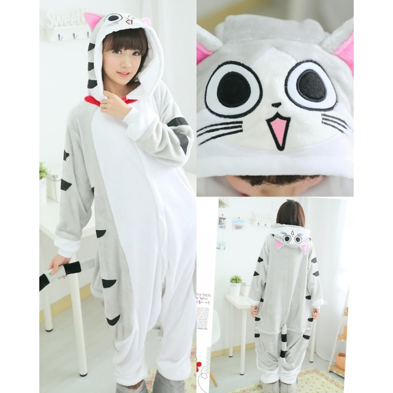 Cheese cat Pajamas Animal Onesies Costume Kigurumi 18a353f5a