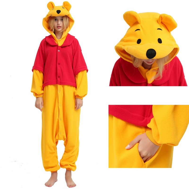 d7c28101e775 Winnie the pooh bear onesie disney costumes for adult and kids ...