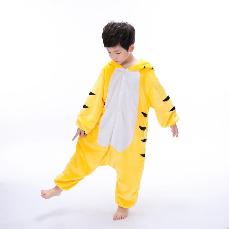 b670635e7814 yellow tiger onesie animal costumes kids onesies kigurumi pajamas