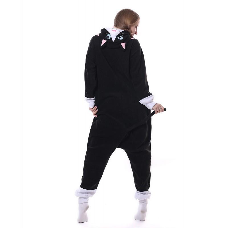 813ab6242edc Black Cat Onesie Pajama Animal Costumes For Women   Men