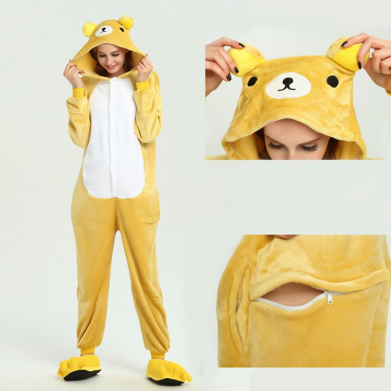 787c9b7cef31 kigurumi yellow Bear onesies animal pajamas for adults