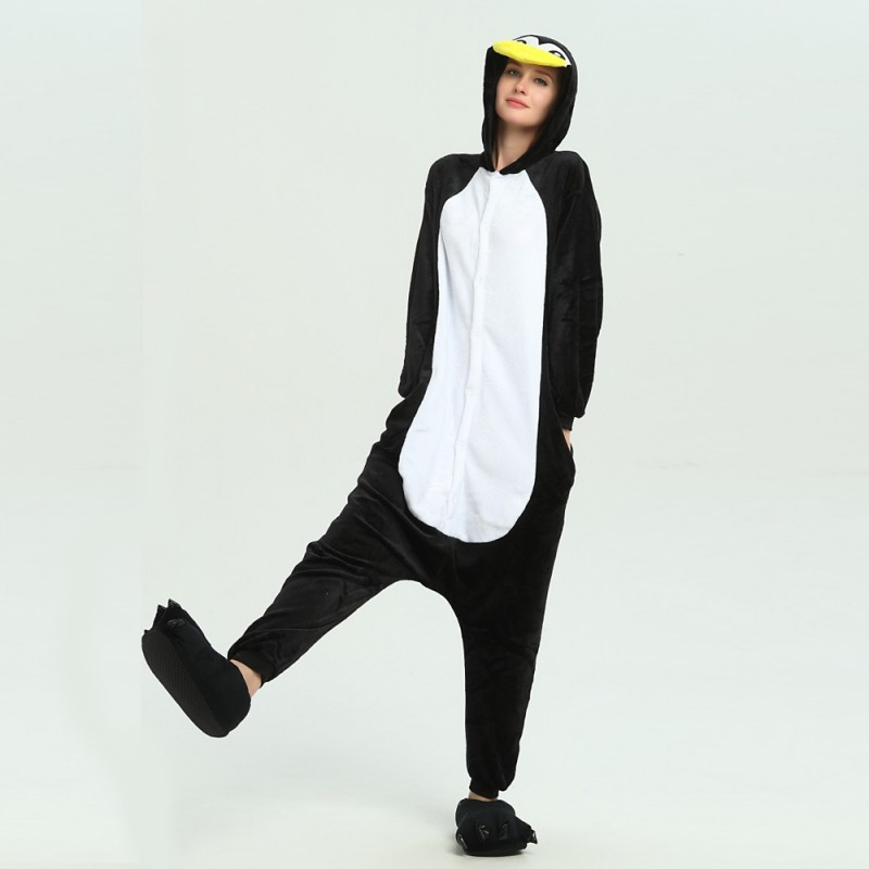 27604d39a262 kigurumi black white Penguin onesies animal pajamas for adults