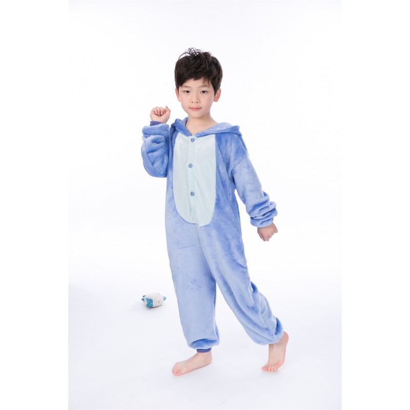 f4429c2439 animal kigurumi blue Stitch onesie pajamas for kids