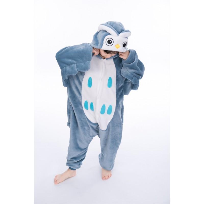 ef22bcce animal kigurumi blue Owl onesie pajamas for kids