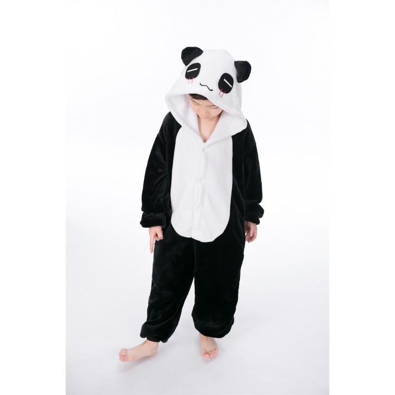 5842db4ec944 animal kigurumi black white Panda onesie pajamas for kids