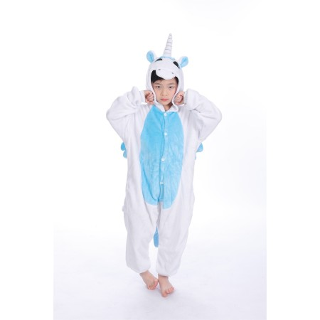 animal kigurumi blue Unicorn onesie pajamas for kids