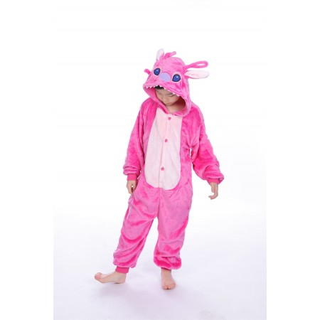 animal kigurumi pink Stitch onesie pajamas for kids