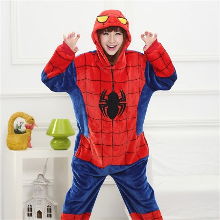 kigurumi red blue Spider Man onesies animal pajamas for adults