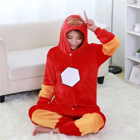 kigurumi red Iron Man onesies animal pajamas for adults