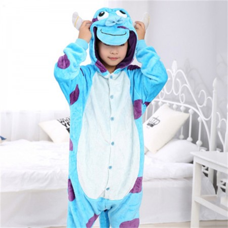 animal kigurumi blue purple Sullivan onesie pajamas for kids