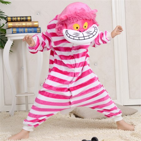 animal kigurumi pink red Cheshire Cat onesie pajamas for kids