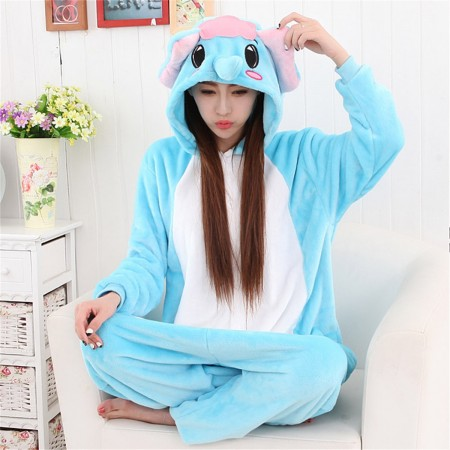 kigurumi sky blue white Dumbo Elephant onesies animal pajamas for adults