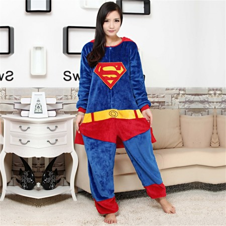 kigurumi blue red Superman onesies animal pajamas for adults