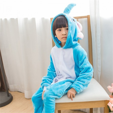 animal kigurumi sky blue white Dumbo Elephant onesie pajamas for kids
