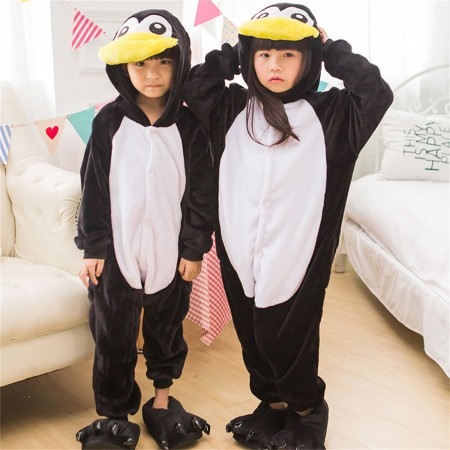 animal kigurumi black white Penguin onesie pajamas for kids