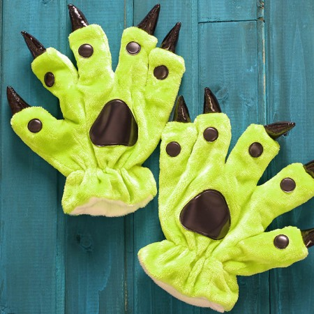 Fluorescent green Kigurumi Unisex Onesies Animal Hands Paw Flannel Cartoon Gloves