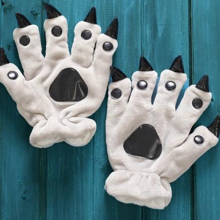 Grey Kigurumi Unisex Onesies Animal Hands Paw Flannel Cartoon Gloves