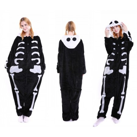 kigurumi black white Skull onesies animal pajamas for adults