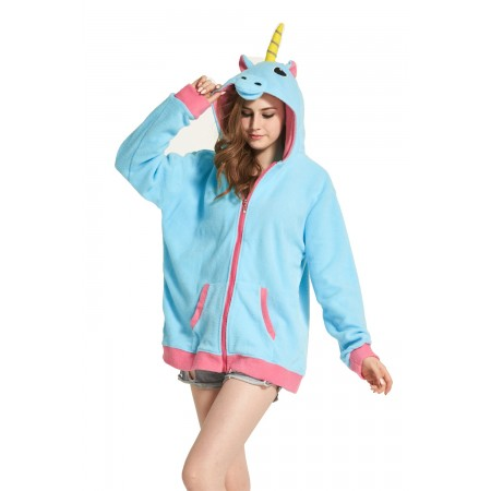 Blue Unicorn Animal Kigurumi Fleece Hoodie Coat Jacket