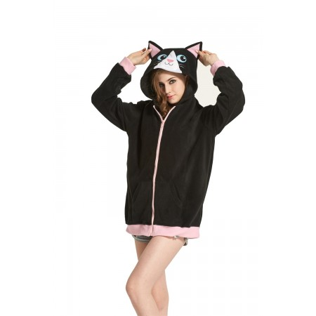 Black Cat Animal Kigurumi Fleece Hoodie Coat Jacket