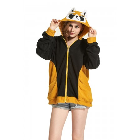 Raccoon Animal Kigurumi Fleece Hoodie Coat Jacket