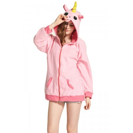 Pink Unicorn Animal Kigurumi Fleece Hoodie Coat Jacket