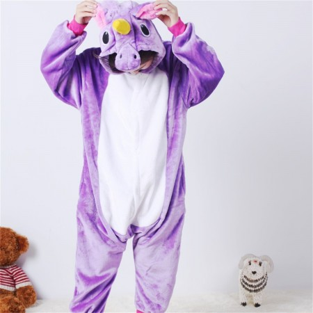 animal kigurumi purple Pegasus onesie pajamas for kids
