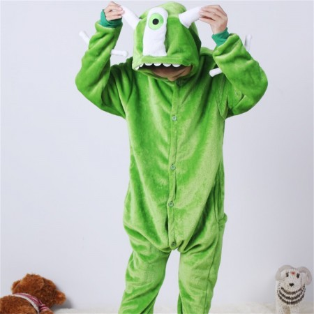animal kigurumi green Monsters Mike Wazowski onesie pajamas for kids