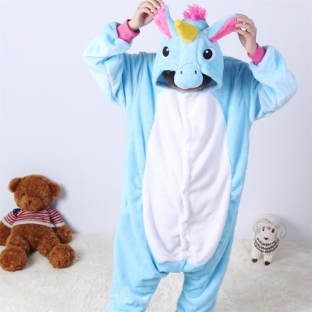 animal kigurumi blue Pegasus onesie pajamas for kids