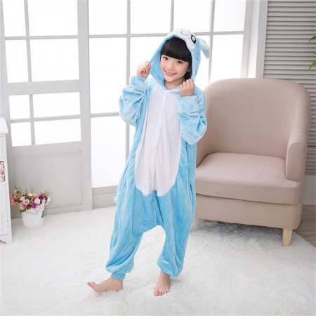 animal kigurumi blue Rabbit onesie pajamas for kids