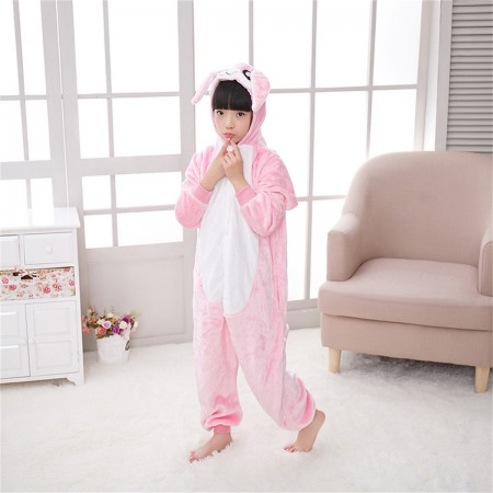 animal kigurumi pink Rabbit onesie pajamas for kids