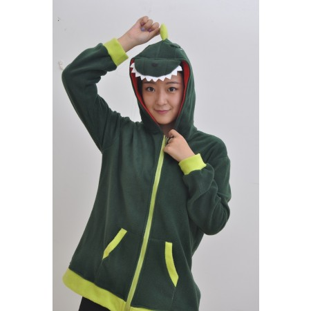 Green Dinosaur Animal Kigurumi Fleece Hoodie Coat Jacket