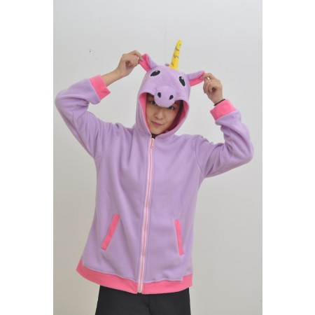 Purple Unicorn Animal Kigurumi Fleece Hoodie Coat Jacket