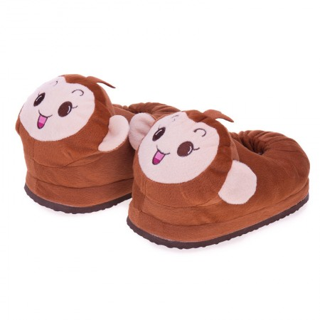 Brown Brown Monkey Stuffed Household Slippers Shoes