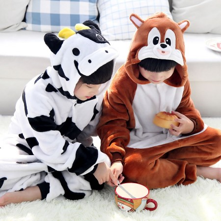 Cows and Squirrels Onesie Pajamas Animal Kids Kigurumi