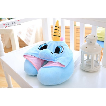 Blue Unicorn Neck Pillow