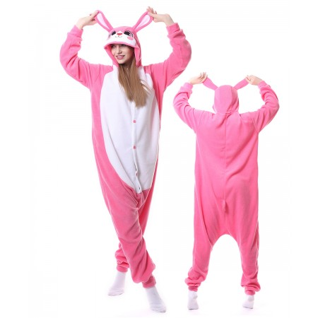 Pink Rabbit Kigurumi Onesie Animal Pajamas For Adults