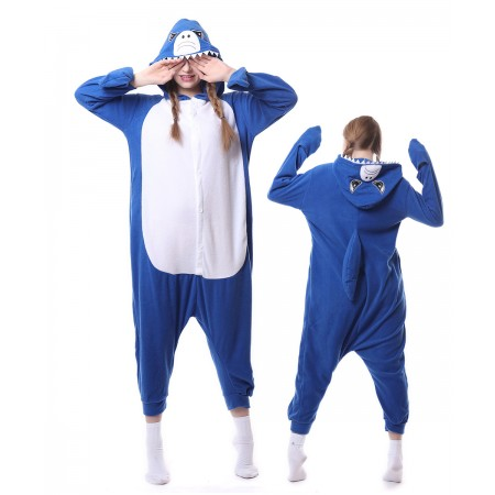 Blue Shark Onesie Pajama Animal Costumes For Women & Men