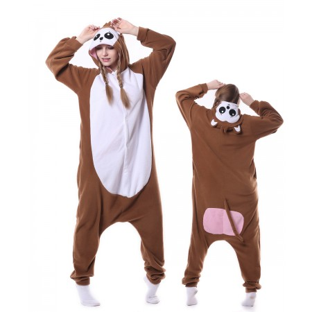 Brown Monkey Onesie Pajama Animal Costumes For Women & Men