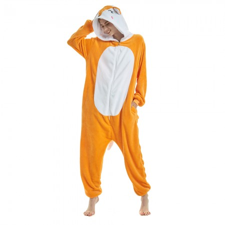 fab2b097b3 Unisex Yellow Fox Animal Onesie Pajamas For Women   Men 2018