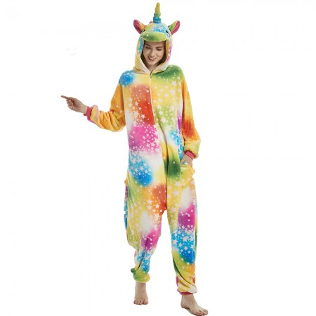 Star Rainbow Unicorn Onesie Pajama Costumes Rainbow Tail and Corner