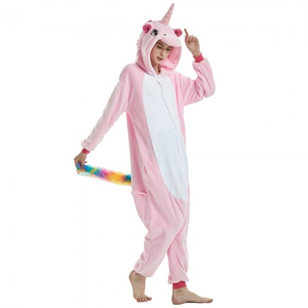 Rainbow Mane and Tail Pink Unicorn Onesie Pajamas for Women and Men