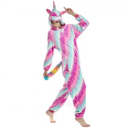 Pink Galaxy Rainbow Tail Unicorn Onesie Pajamas 2018