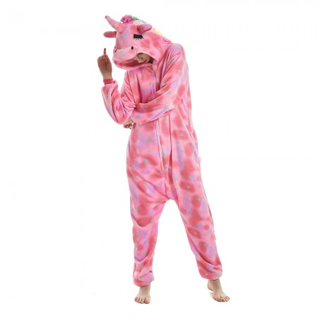 Pink Star Pattern Unicorn Onesie Pajamas With Rainbow Tail and Mane