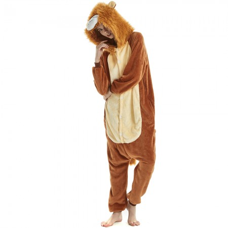 Unique Lion Onesies Pyjamas With Simulation Of Lion Mane Design