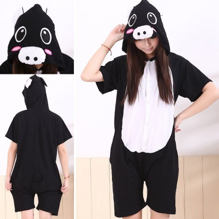 adult onesie pajamas black pig