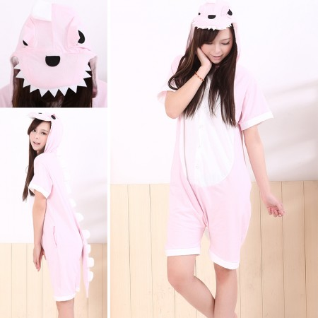 Pink Dinosaur Pajamas Animal Onesie Kigurumi Short Sleeve