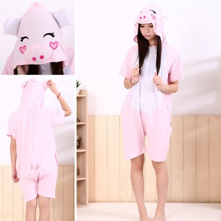 Pink Pig Pajamas Animal Onesie Costume Kigurumi Short Sleeve