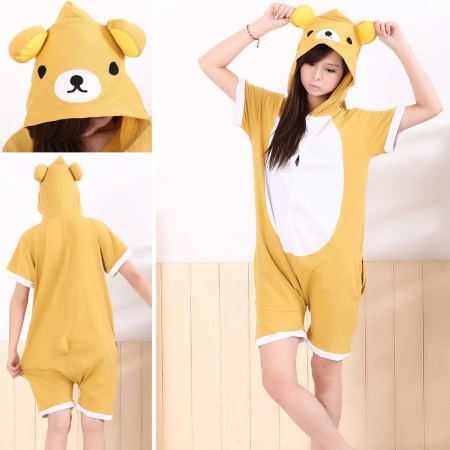 Rilakkuma Pajamas Animal Onesie Hoodie Kigurumi Short Sleeve Costume